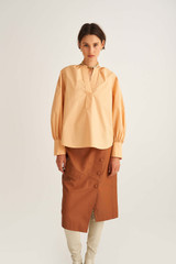 Oroton Long Sleeve Popover Shirt in Mango and 100% Cotton for female