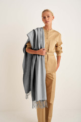 Oroton Fringe Wool Scarf in Grey Marle and 100% Lambswool for female