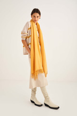 Oroton Fringe Wool Scarf in Mango and 100% Lambswool for female