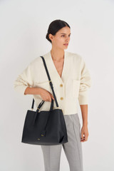 Oroton Margot Large Day Bag in Black and Pebble Leather for female