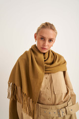 Oroton Fringe Wool Scarf in Olive and 100% Lambswool for female
