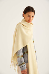 Oroton Fringe Wool Scarf in Lemon and 100% Lambswool for female