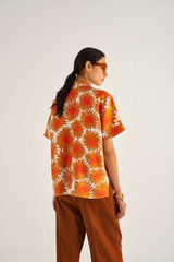 Oroton Floral Print Shirt in Maple and 100% Silk for female