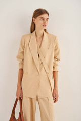 Oroton Double Breasted Blazer in Pink Sand and 81% Viscose 17%Cotton 2% Elastane for female