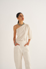 Oroton Relaxed Drill Pant in Ecru and 100% Cotton for female