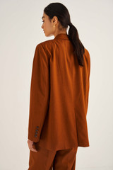 Oroton Double Breasted Blazer in Cognac and 66% Viscose 34% Cotton for female