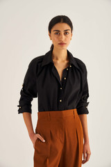 Oroton Gold Button Shirt in Black and 100% Cotton for female
