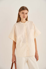 Oroton Drop Shoulder Shirt in Vanilla and 100% Cotton for female