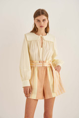 Oroton Quilted Yoke Blouse in Lemon Zest and 100% Cotton for female