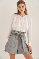 Oroton Pocket Detail Short in Pewter and 100% Cotton for female