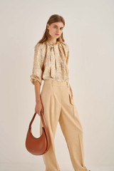Oroton Pleat Pant in Pink Sand and 81% Viscose 17%Cotton 2% Elastane for female