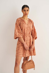 Oroton Broderie Dress in Soft Clay and 100% Cotton for female