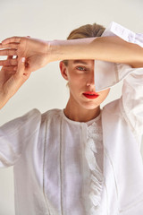 Oroton Lace Detail Shirt in Antique White and 100% Linen for female