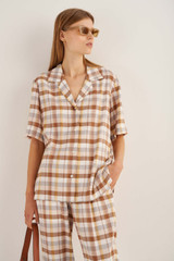 Oroton Check Camp Shirt in Cocoa and 70% Viscose 30% Acetate for female