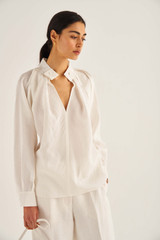 Oroton Soft Blouse in Antique White and 75% Viscose 25% Polyester for female