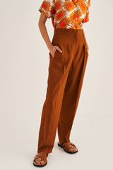 Oroton Pleat Front Pant in Cognac and 66% Viscose 34% Cotton for female