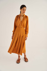Oroton Pleat Skirt in Maple and 75% Viscose 25% Polyester for female