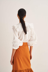 Oroton Ruffle Yoke Blouse in Antique White and 100% Linen for female