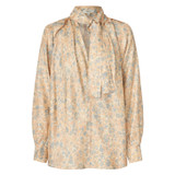Oroton Marble Print Blouse in Dusty Peach and 100% Silk for female