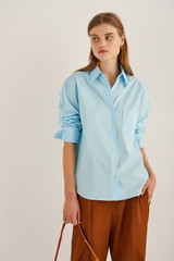 Oroton Poplin Overshirt in Lagoon and 100% Cotton for female