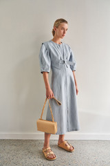 Oroton Sculptured Dress in Smoke Blue and 100% Linen for female