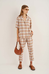 Oroton Check Pant in Cocoa and 70% Viscose 30% Acetate for female