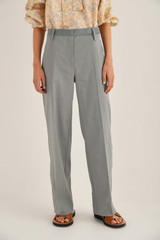 Oroton Flat Front Trouser in Smoke Blue and 65% Linen 34% Cotton 1% Elastane for female