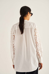 Oroton Lace Shirt in White and 100% Polyester (Main), 100% Cotton (Lace/Contrast) for female