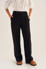 Oroton Relaxed Trouser in Black and 100% Linen for female