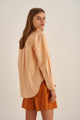 Oroton Poplin Overshirt in Mango and 100% Cotton for female