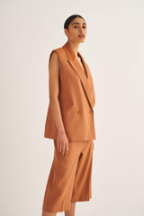 Oroton Tailored Culotte in Deep Clay and 65% Linen 34% Cotton 1% Elastane for female