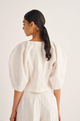 Oroton Sculptured Top in Eggshell and 100% Linen for female