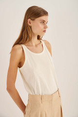 Oroton Jersey Tank in Fresh Cream and 100% Cotton for female