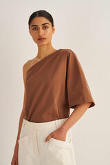 Oroton One Shoulder Top in Burnt Spice and 100% Cotton for female