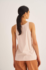 Oroton Jersey Tank in Pale Mango and 100% Cotton for female
