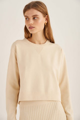 Oroton Relaxed Crew Knit in Ecru and 83% Viscose 17% Polyester for female
