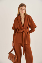 Oroton Short Sleeve Knit Jacket in Cognac and 83% Viscose 17% Polyester for female