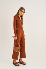 Oroton Knit Pant in Cognac and 83% Viscose 17% Polyester for female