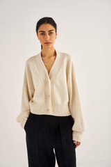 Oroton Belted Cardi in Eggshell and 100% Wool for female