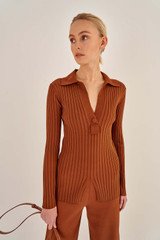 Oroton Skinny Rib Polo in Cognac and 83% Viscose 17% Polyester for female