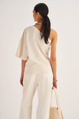 Oroton One Shoulder Top in Eggshell and 100% Cotton for female