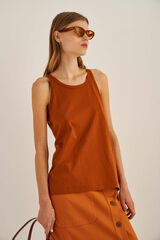 Oroton Jersey Tank in Tan and 100% Cotton for female