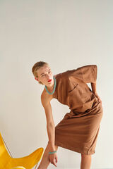 Oroton One Shoulder Dress in Burnt Spice and 100% Cotton for female