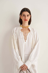Oroton Doilie Lace Up Dress in Antique White and 100% Linen for female