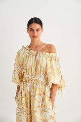 Oroton Garden Floral Dress in Sugarcane and 100% Linen for female