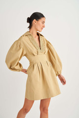 Oroton Loop Detail Dress in Wheat and 100% Cotton for female
