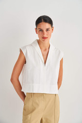 Oroton Cropped Sailor Top in White and 100% Cotton for female