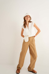 Oroton Flat Front Pant in Wheat and 100% Cotton for female
