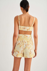 Oroton Garden Floral Short in Sugarcane and 100% Linen for female