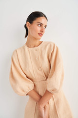 Oroton Sculptured Dress in Pale Mango and 100% Linen for female